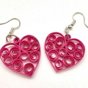 Heart Shaped Hot Pink Quilled Earrings